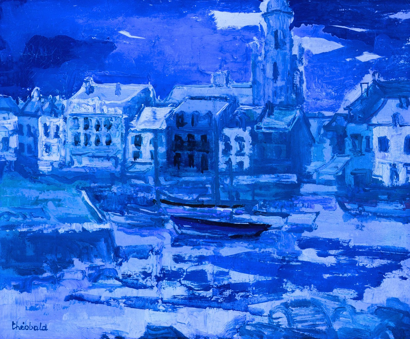 Lot 542: Renee Theobald, o/c harbor scene