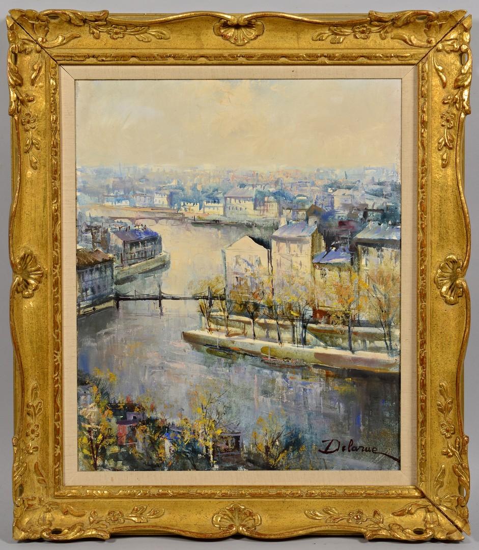 Lot 543: French Oil on Canvas Paris Scene, DeLaRue