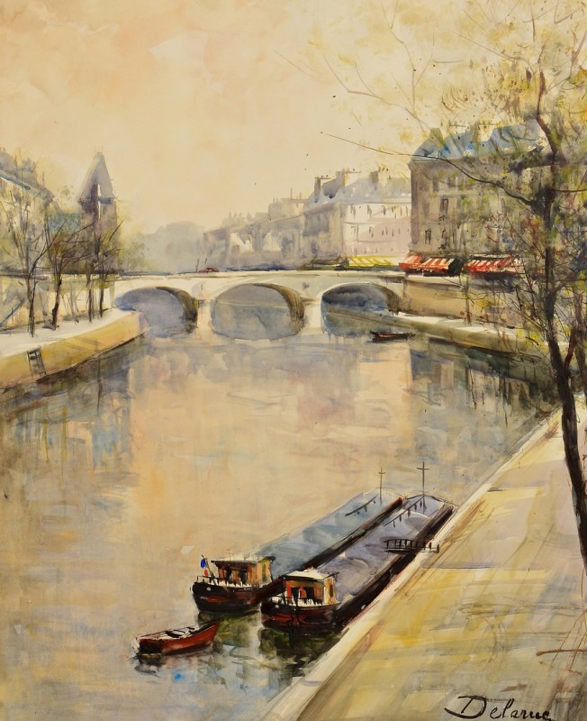 Lot 544: French Watercolor Seine River Scene, DeLaRue
