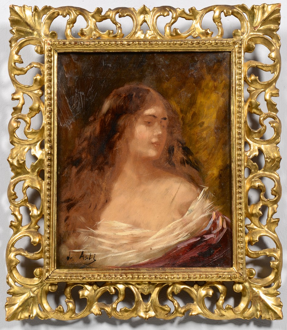 Lot 549: Angelo Asti, Oil on Canvas Portrait of a Lady