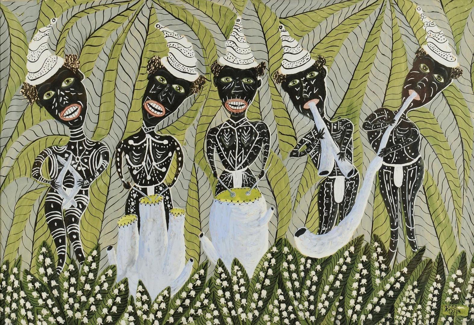 Lot 552: Henri Bastin Gouache of Aboriginal Figures