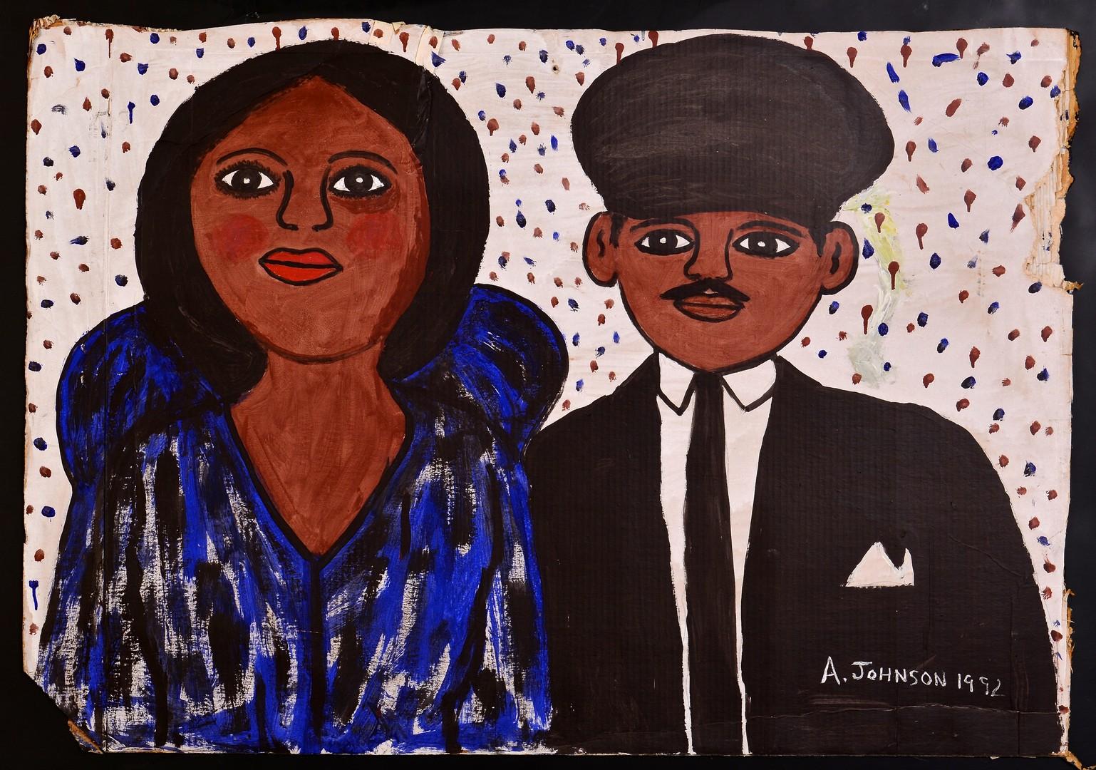 Lot 553: Anderson Johnson, outsider art portrait