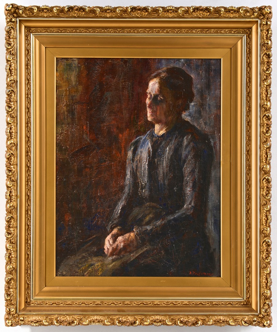 Lot 557: David Rosenthal Oil on Canvas Portrait