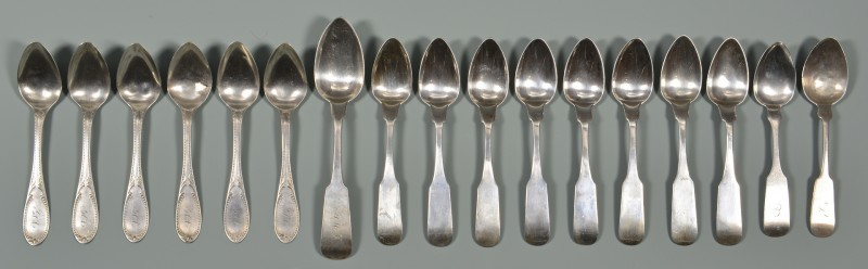 Lot 55: 15 pcs Virginia Coin silver flatware