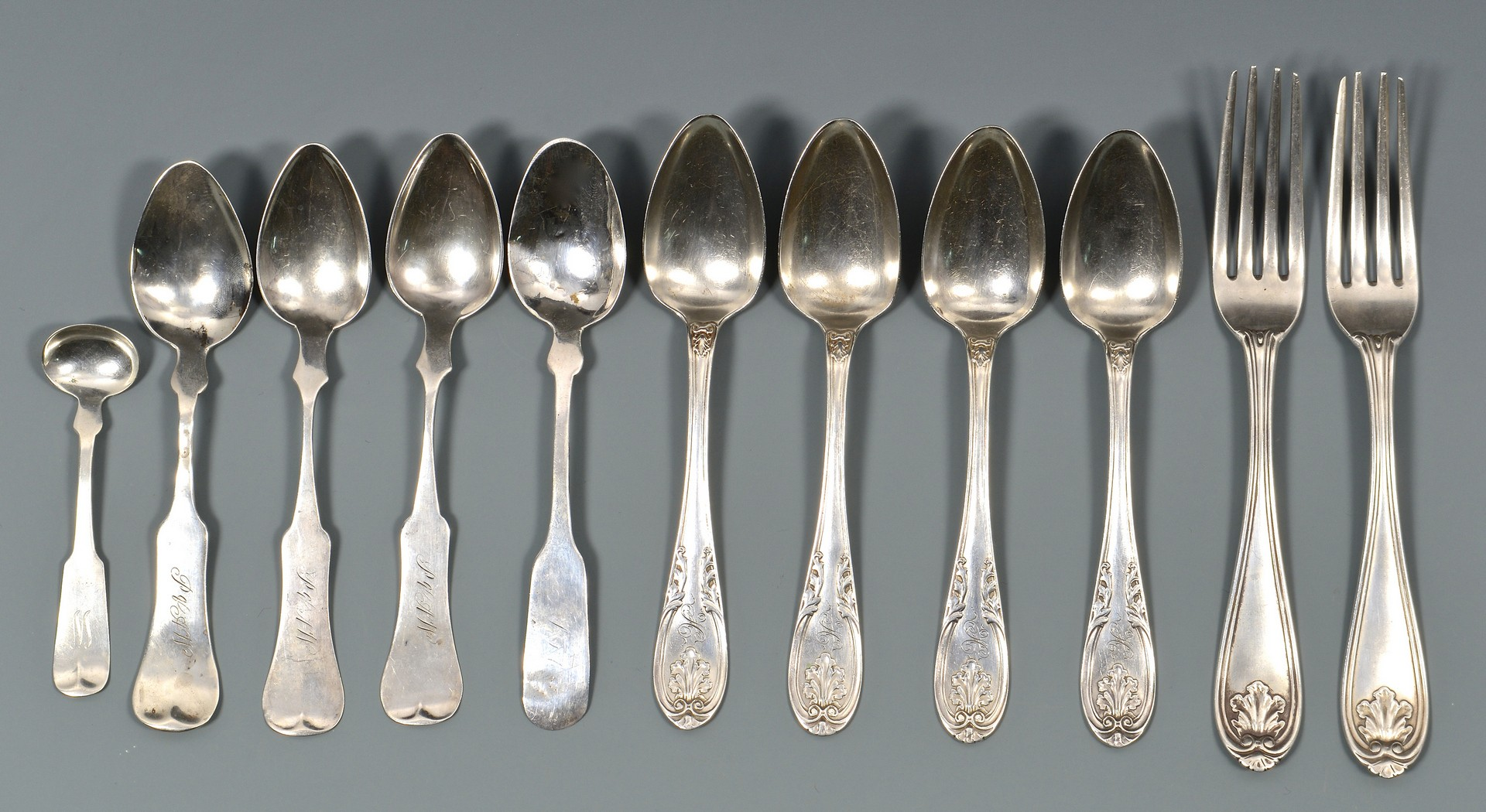 Lot 566: Assorted Coin Silver Flatware, 11 pcs.