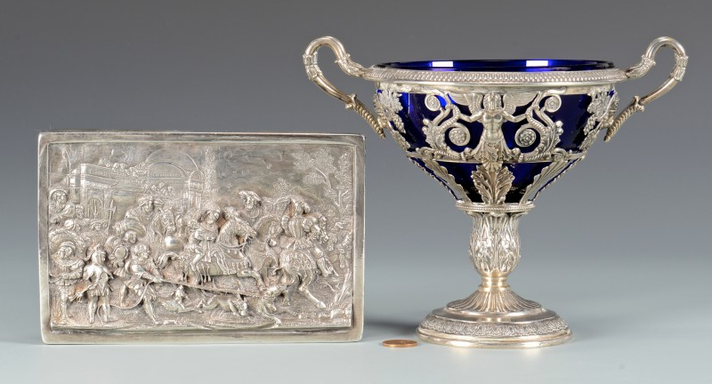 Lot 568: Russian 999 Silver Plaque plus German compote
