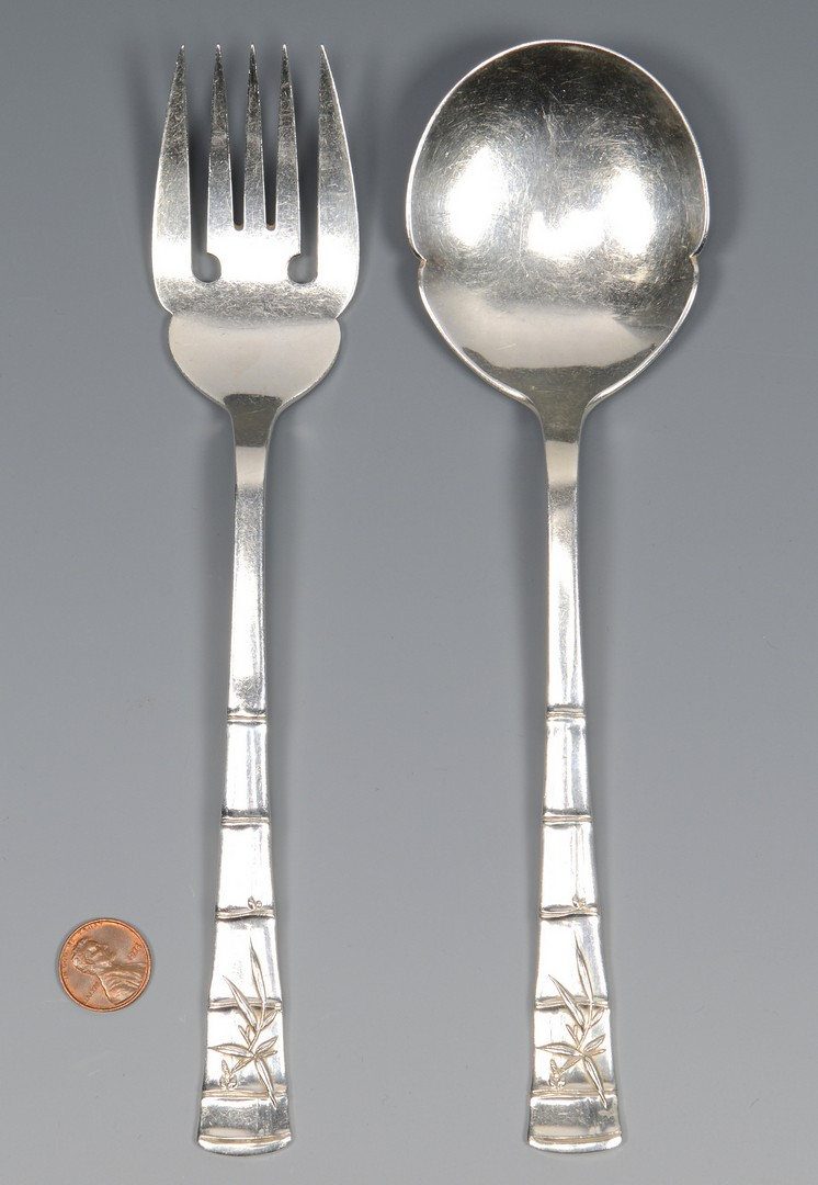 Lot 569: Bamboo style .950 Silver Salad Set, poss Japanese