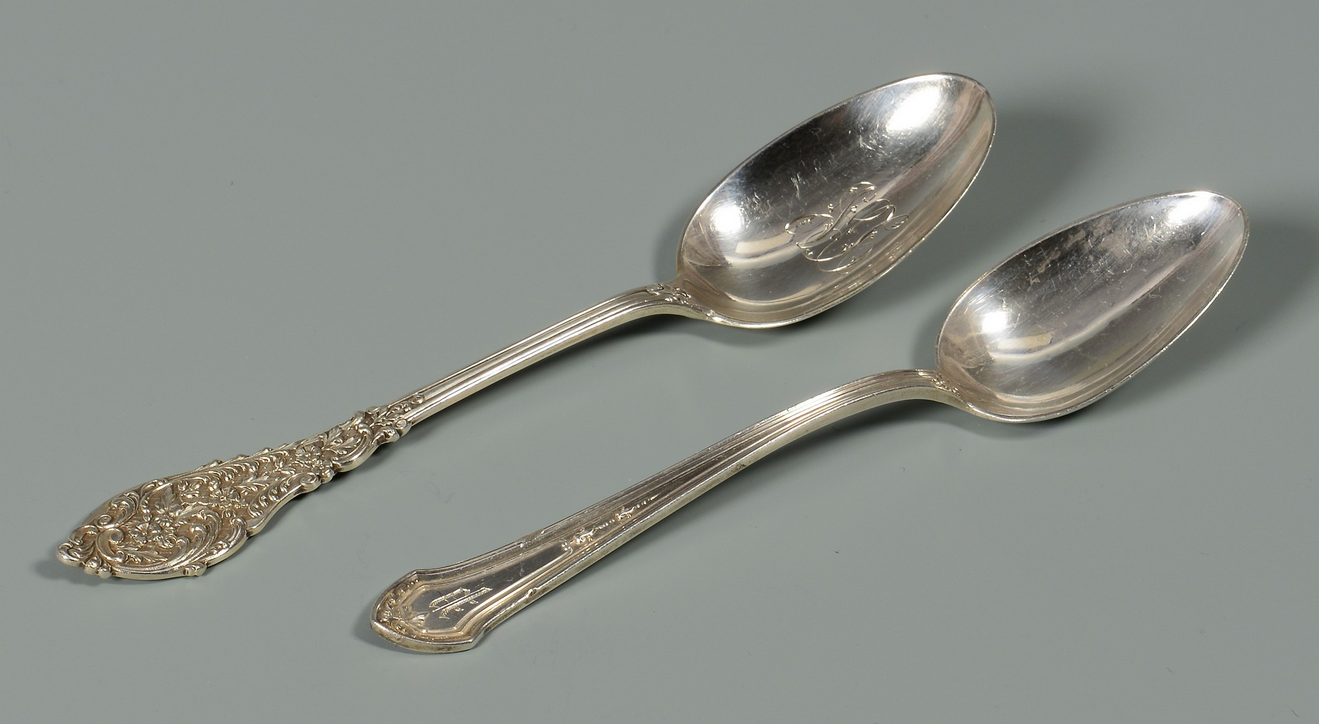 Lot 574: Misc. flatware, napkin rings and salt shakers, 44