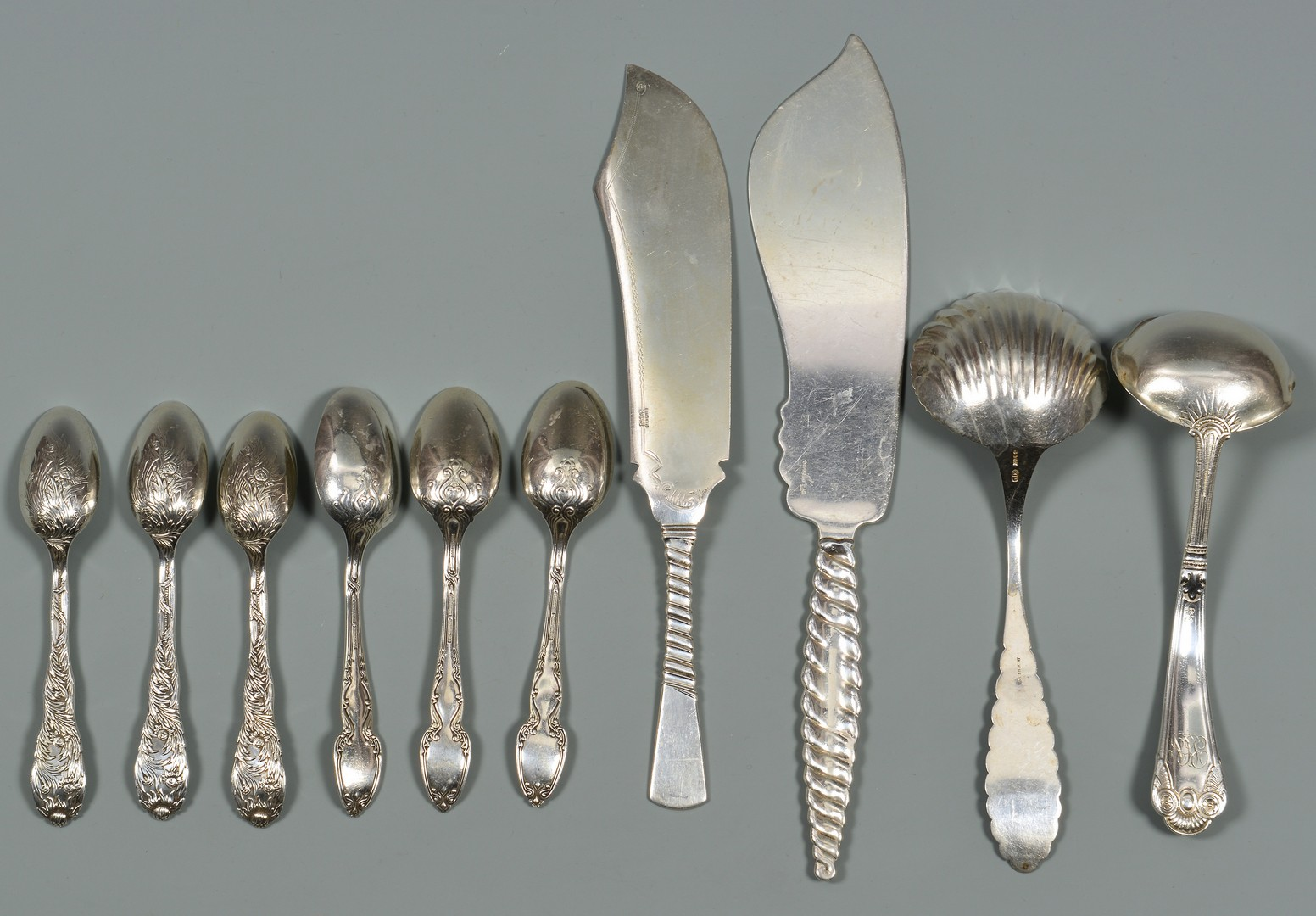 Lot 575: 10 pcs Tiffany, Gorham, etc. flatware