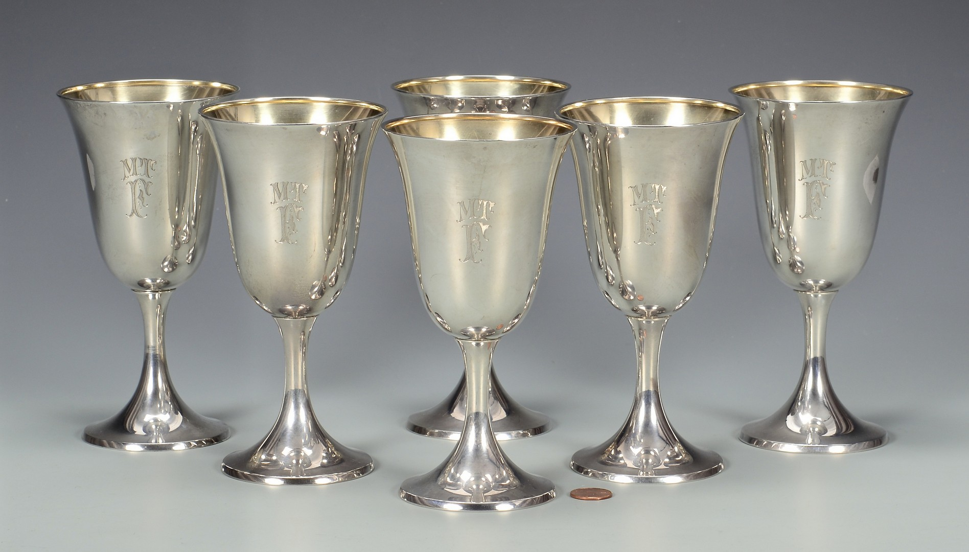 Lot 577: 6 Gorham Sterling Silver Goblets