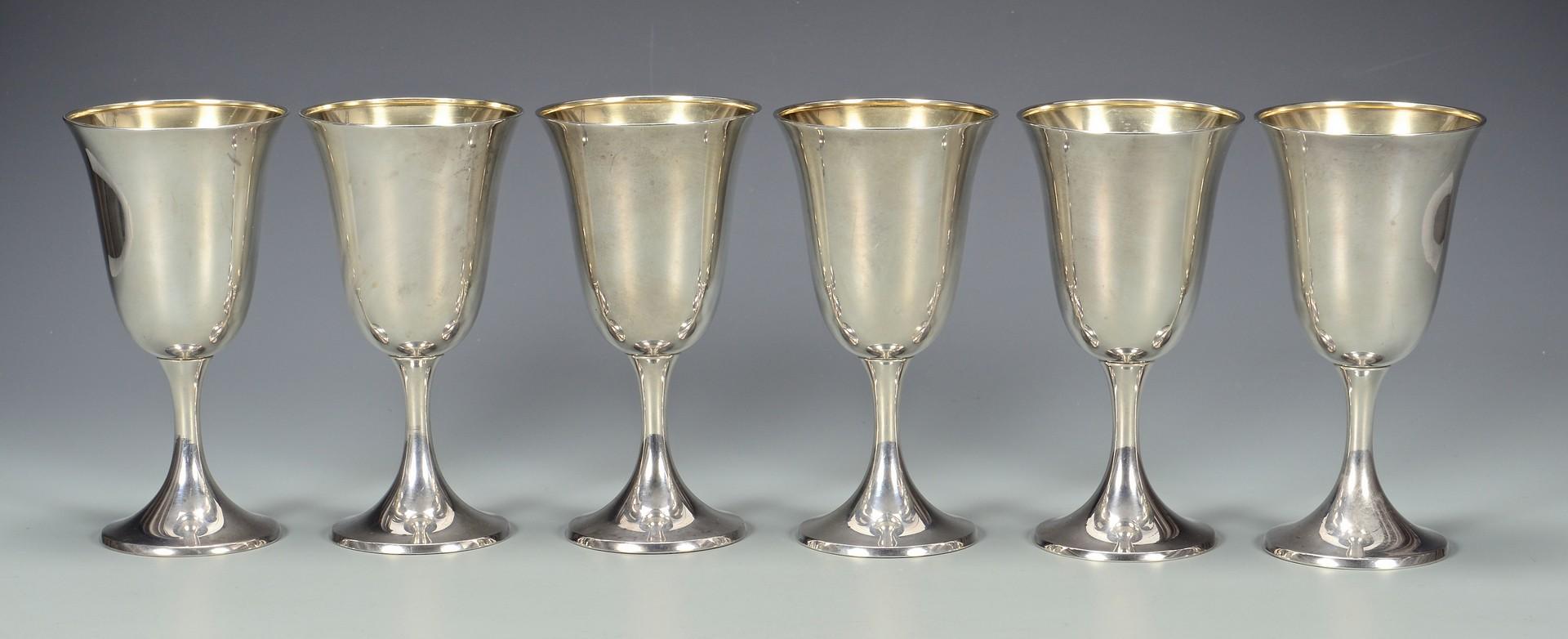 lot 577  6 gorham sterling silver goblets