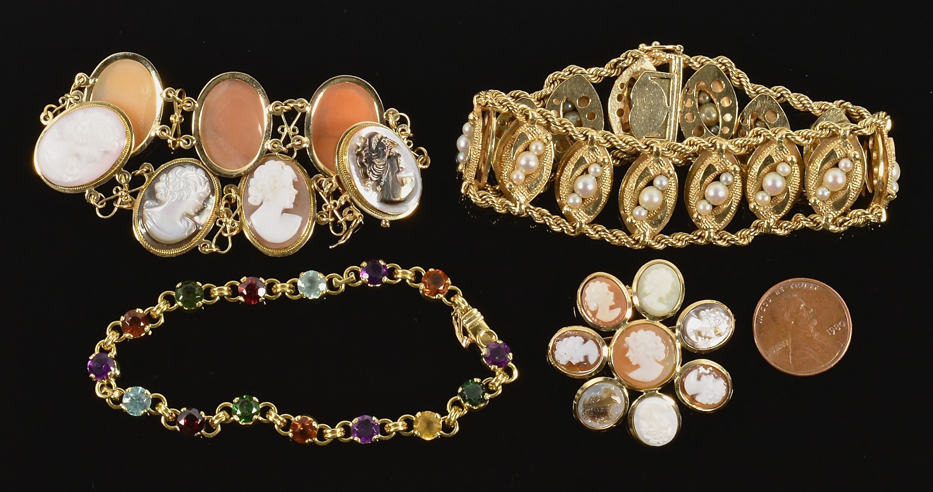 Lot 586: 14K, 18K Pearl, Cameo, Stone Jewelry