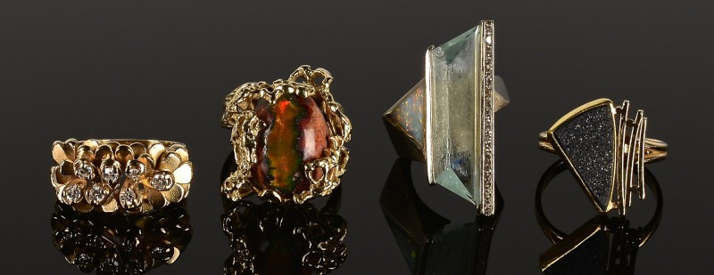 Lot 587: 4 Gold and Stone Fashion Rings