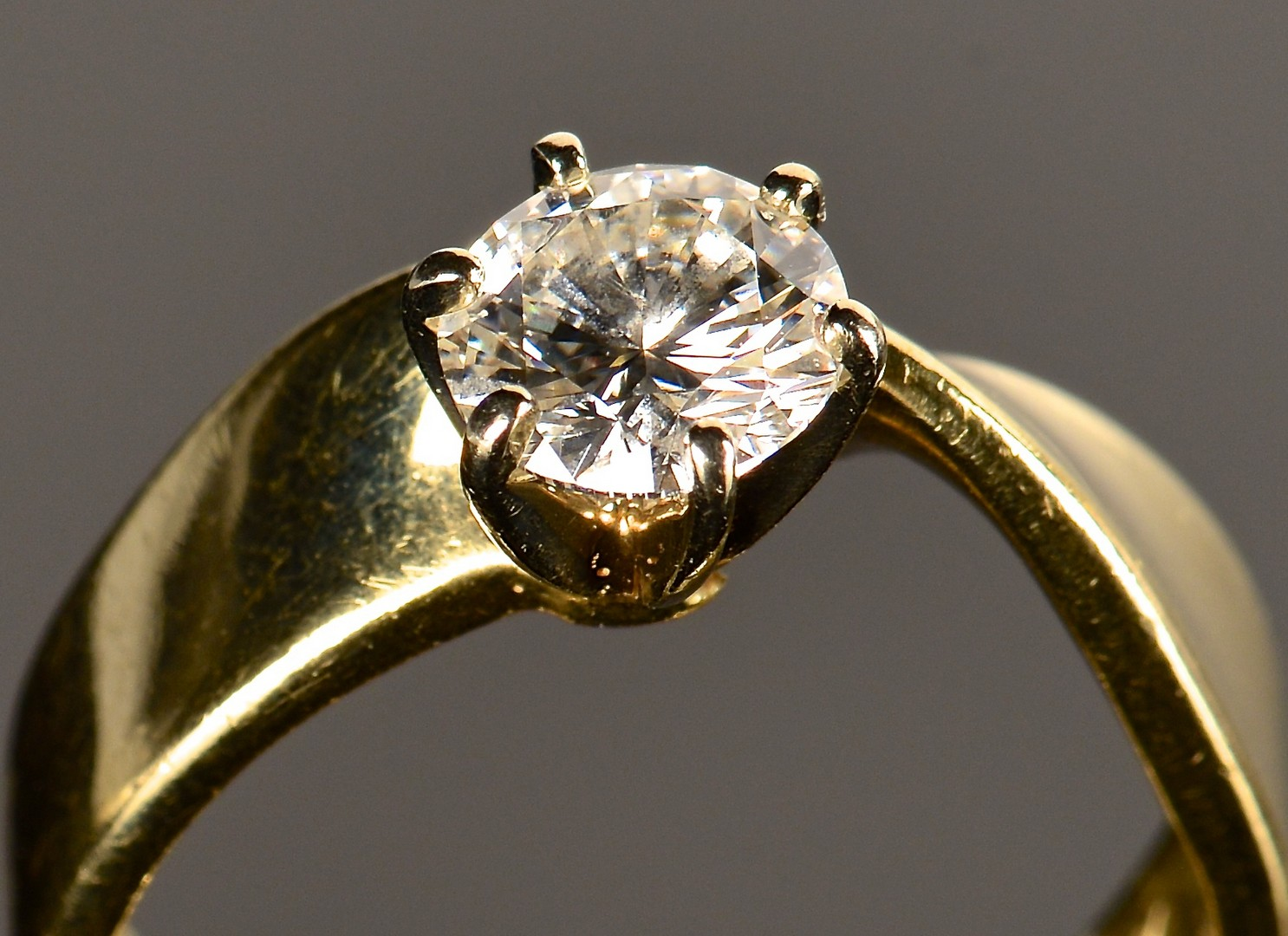Lot 591: 14k Diamond Solitaire Ring