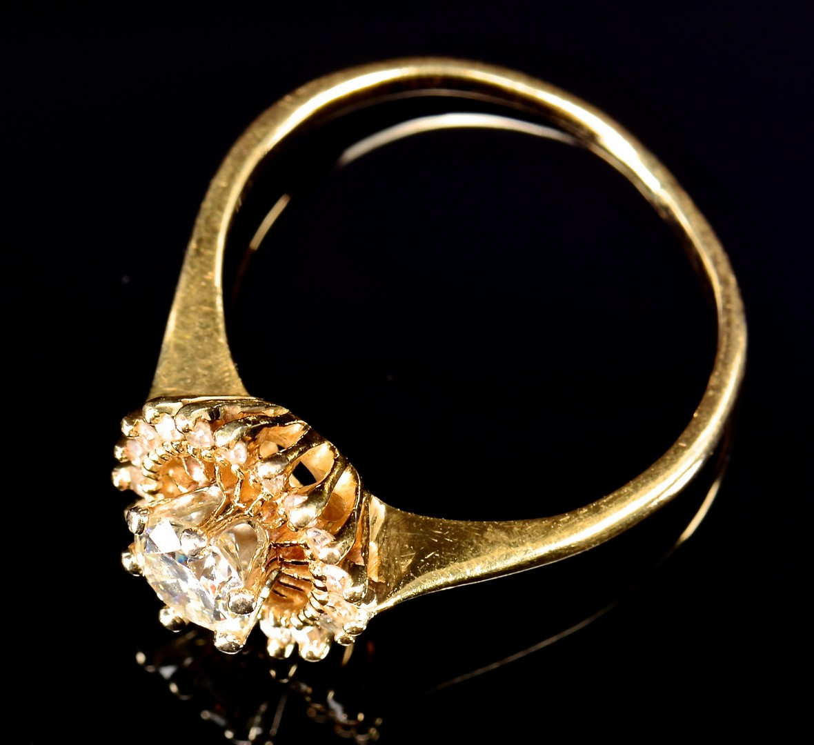 Lot 593: 2 Gold Diamond Jewelry Items