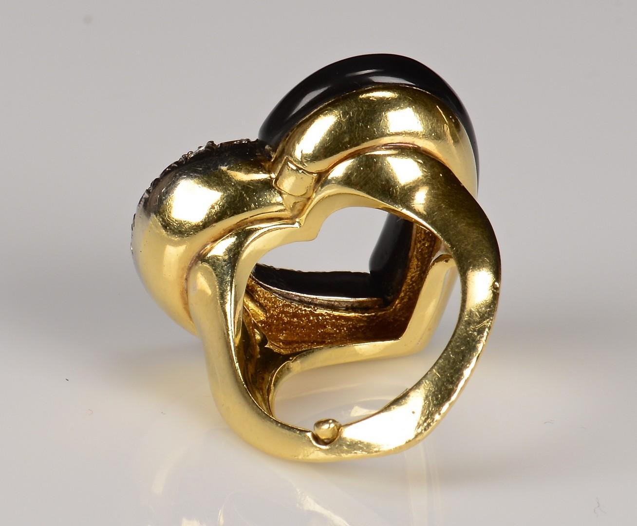 Lot 594: 18K Onyx and Diamond Heart Ring