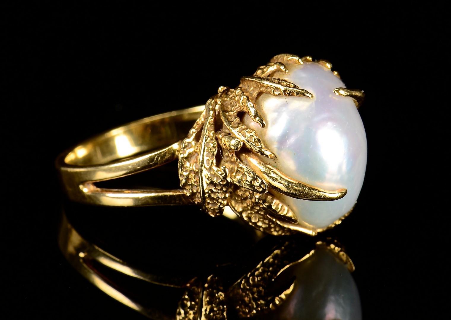Lot 595: 18k & 14k Baroque Pearl Rings