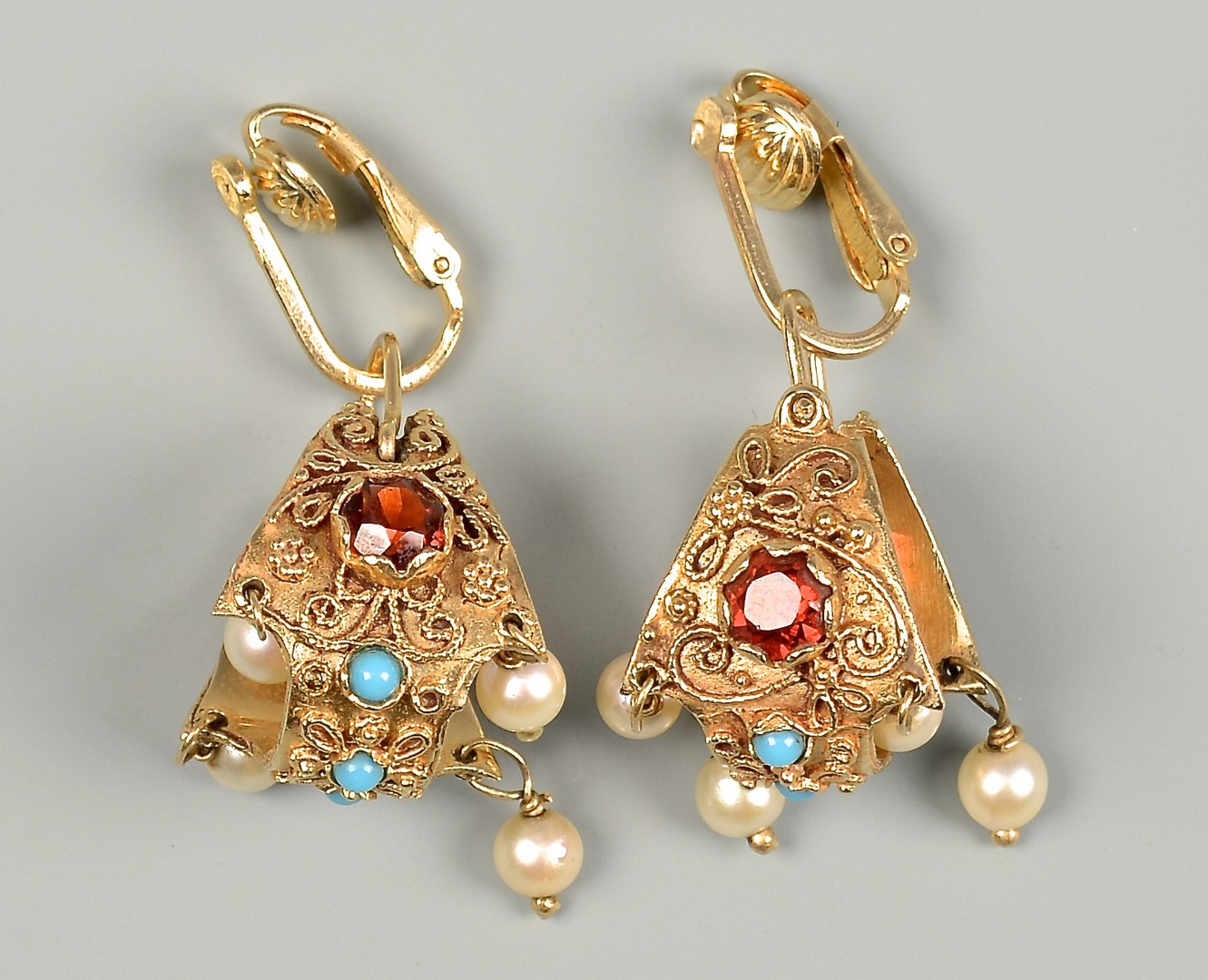 Lot 596: 2 Pr 14K Earrings w/ Diamonds & other