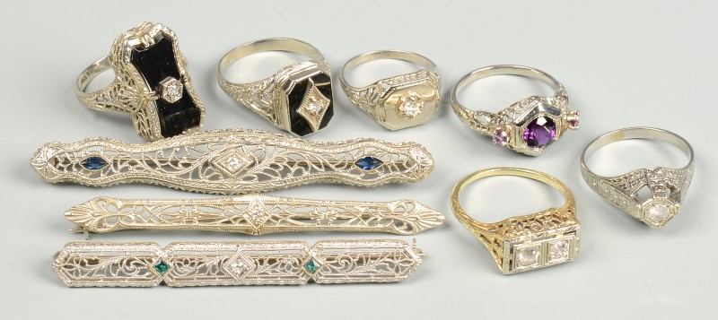 Lot 597: 9 Vintage 10k-18k Rings & Bar Pins