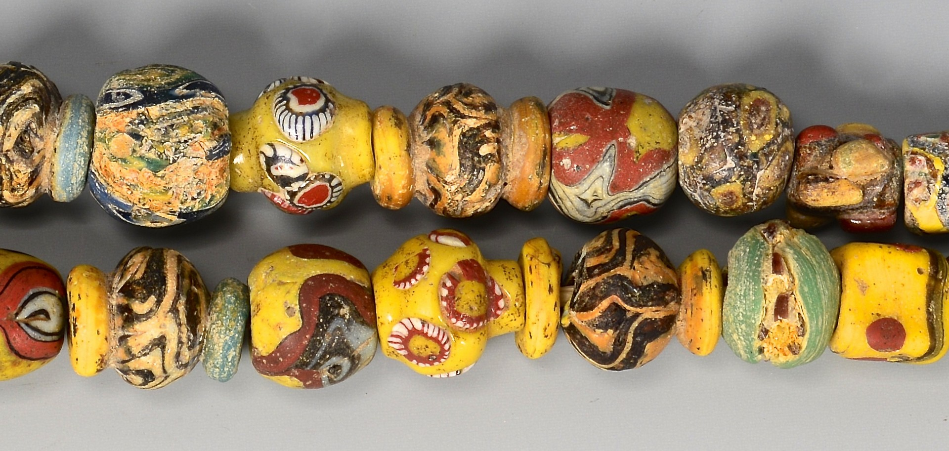 Lot 598: Near Eastern Mosaic Glass Bead Necklace