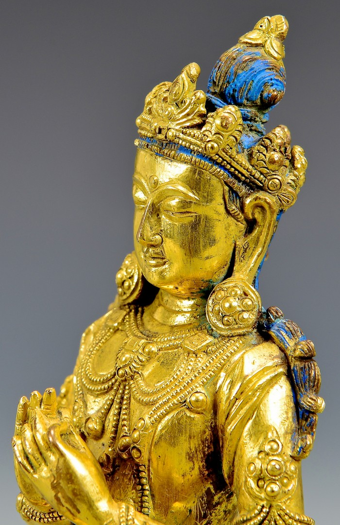 Lot 5: Gilt Buddhist Bronze Seated Sculpture