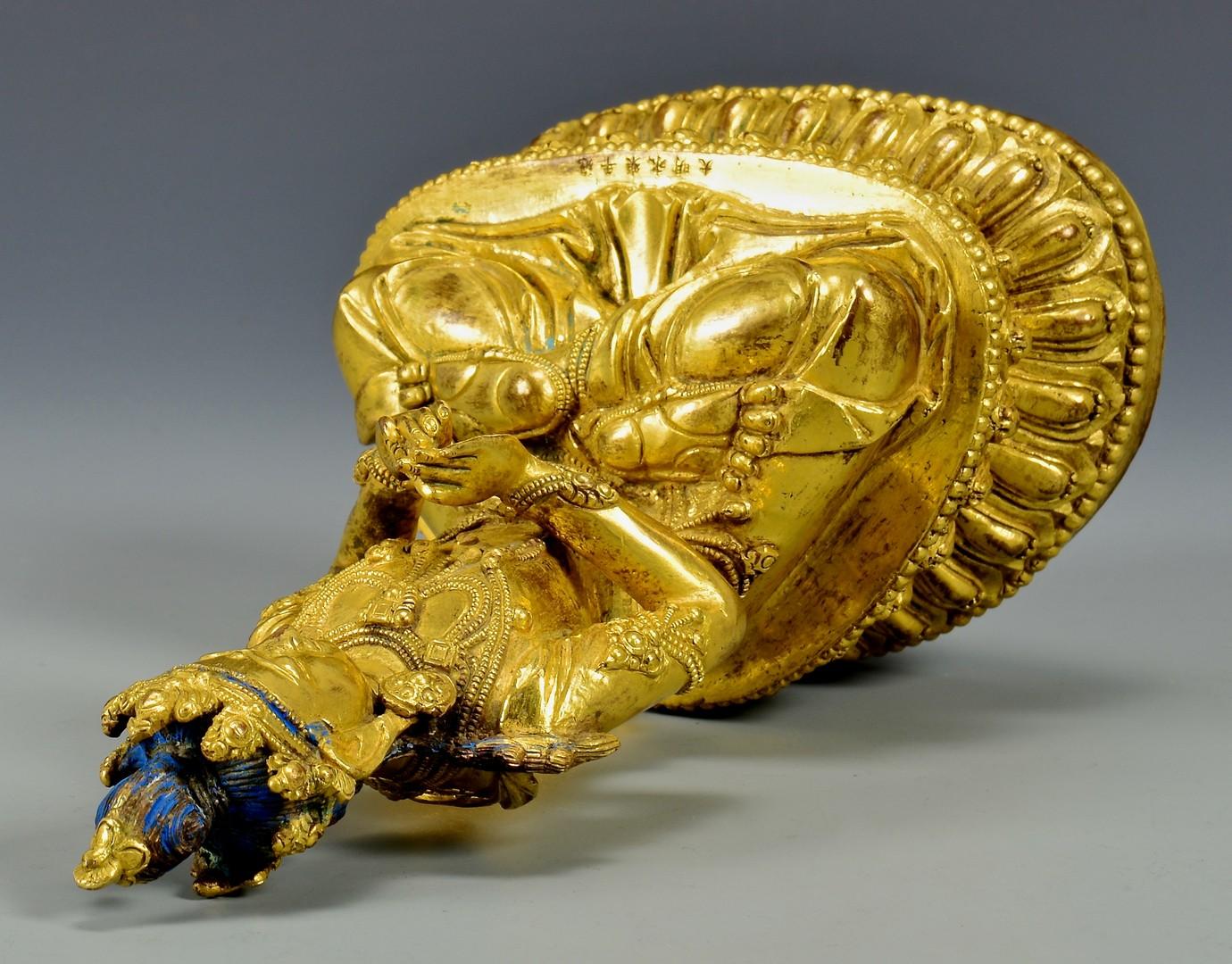 Lot 5: Gilt Buddhist Bronze Seated Sculpture
