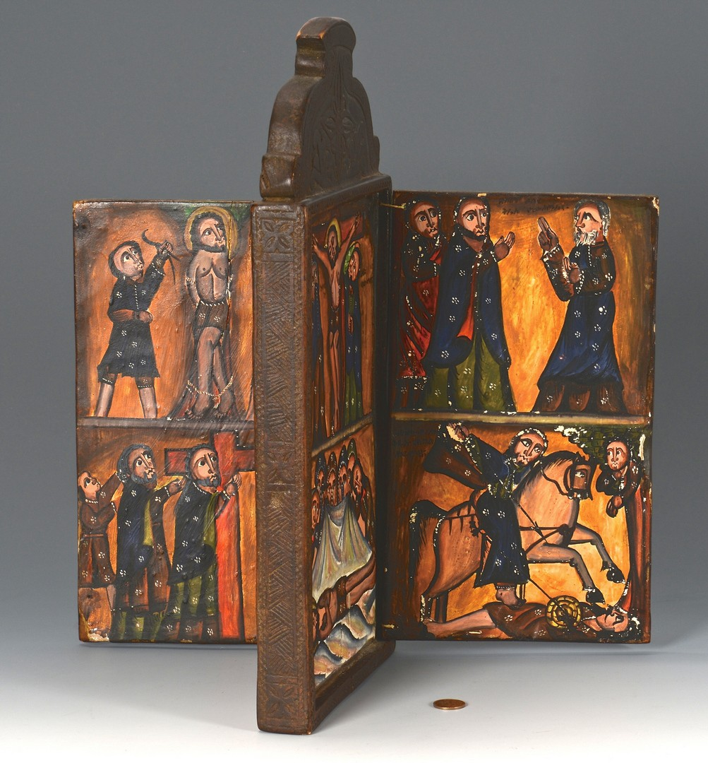 Lot 601: 4-Panel Painted Ethiopian Coptic Icon