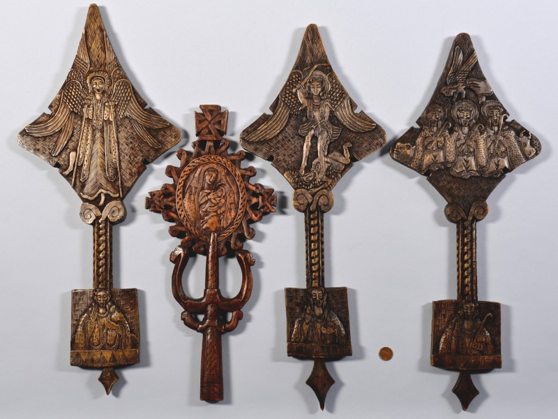 Lot 604: 4 Ethiopian Carved Wood Ornaments