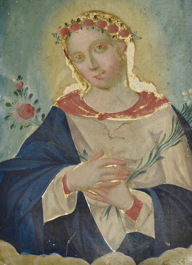 Lot 605: Tin Retablo, Virgin Mary