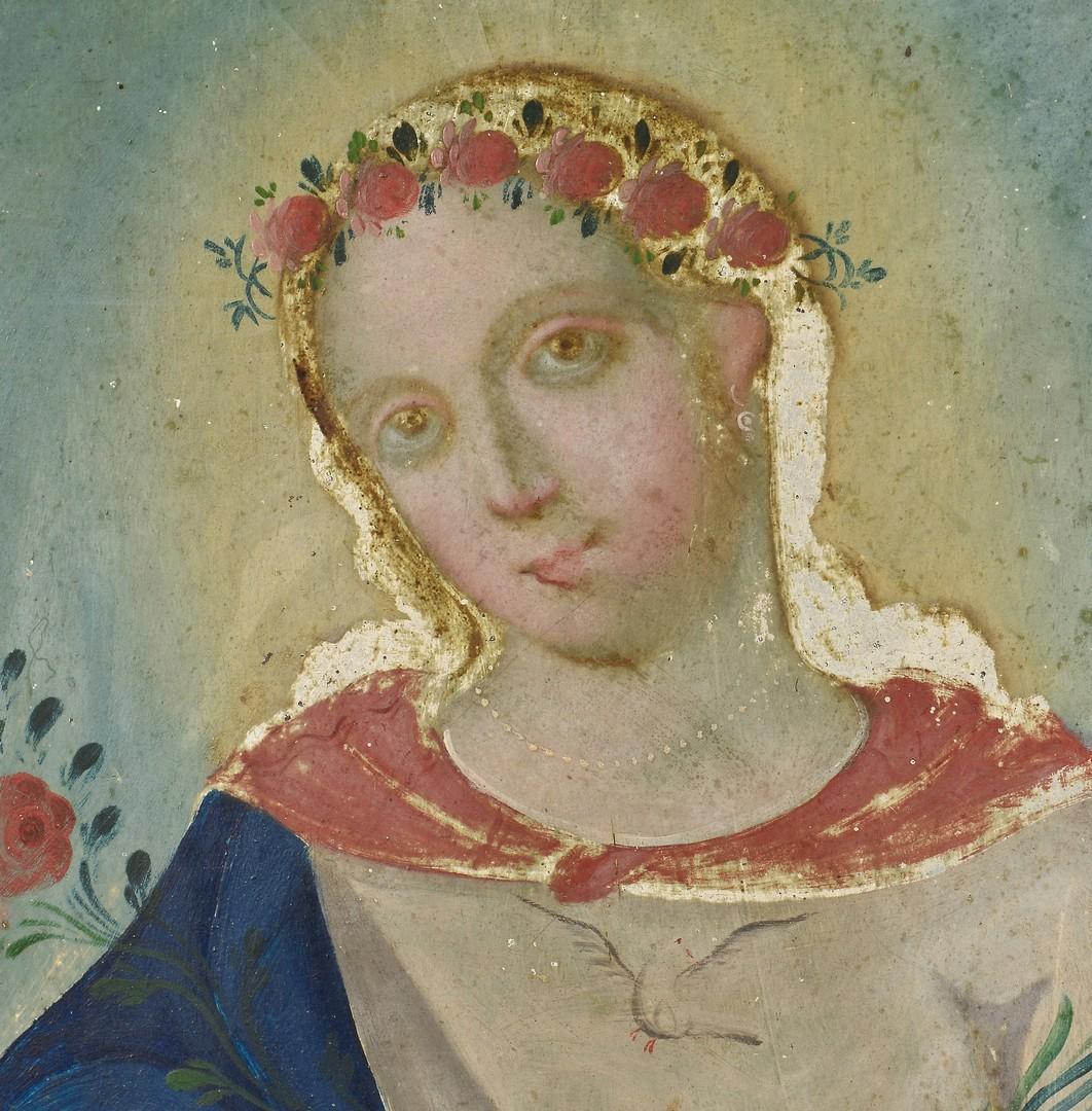 Lot 605: Tin Retablo, Virgin Mary