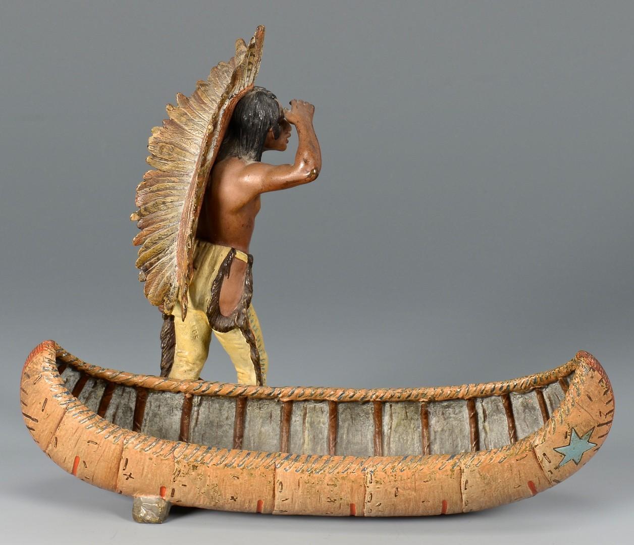 Lot 618: Cold Painted BronzeNative American w/ Canoe