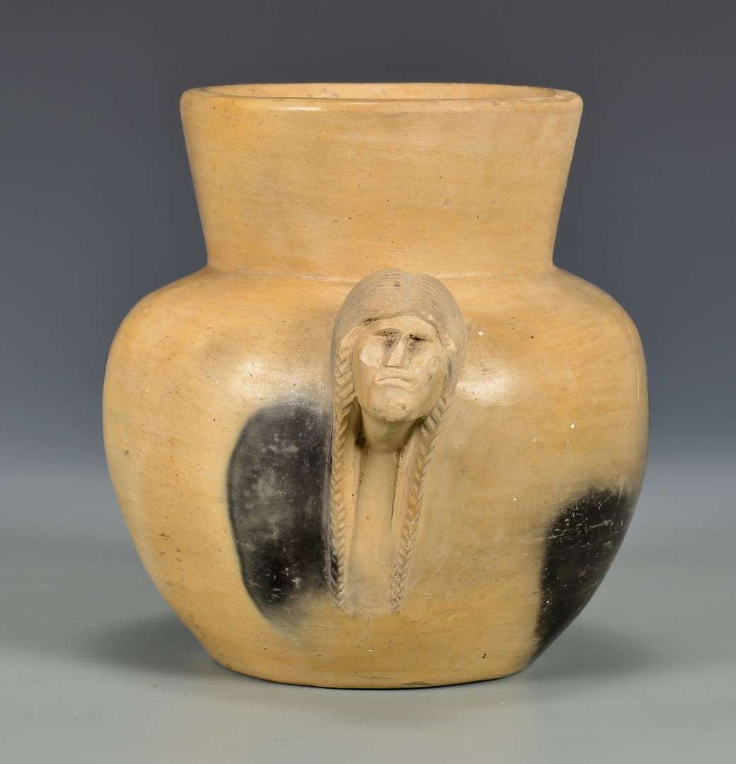 Lot 631: Signed NC Cherokee Pottery Jar, Maude Welch