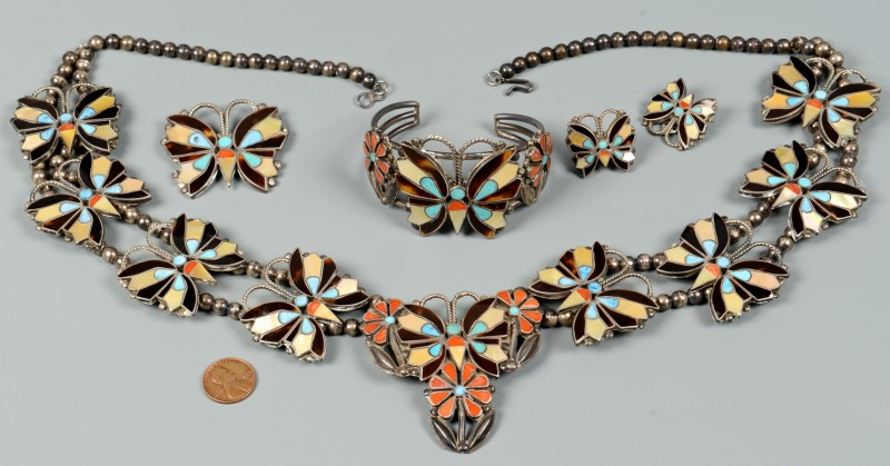 Lot 634: Zuni Jewelry Grouping, Rosita Wallace, 4 pcs.