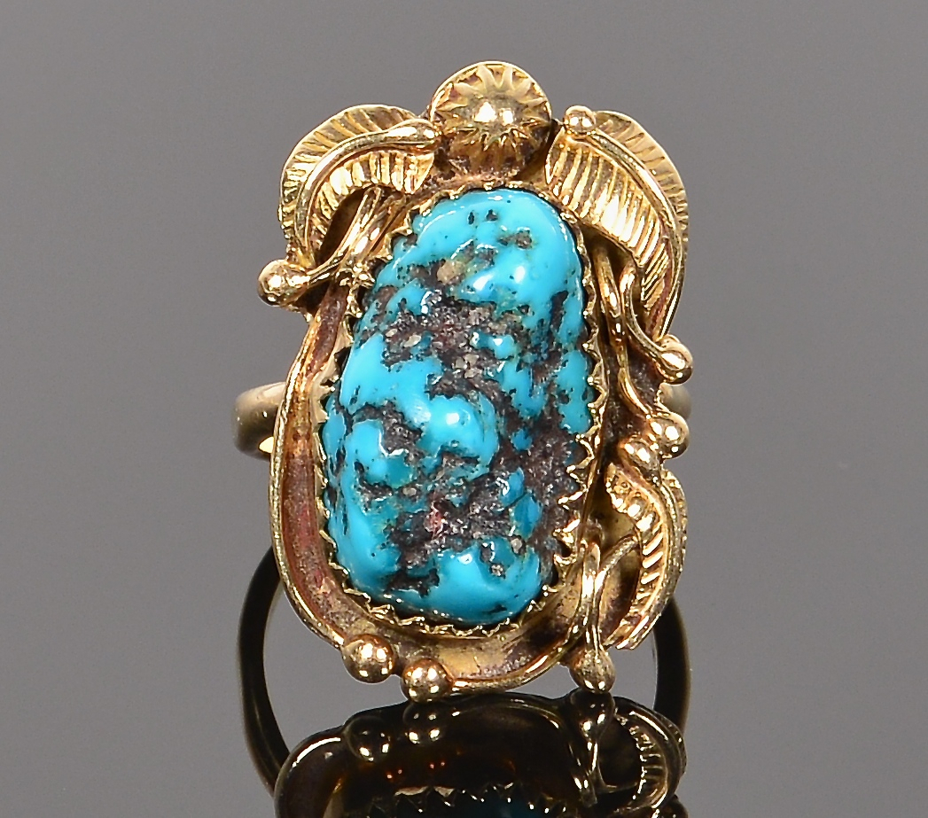 Lot 635: Kirk 18KT Turquoise Ring, circa 1950's