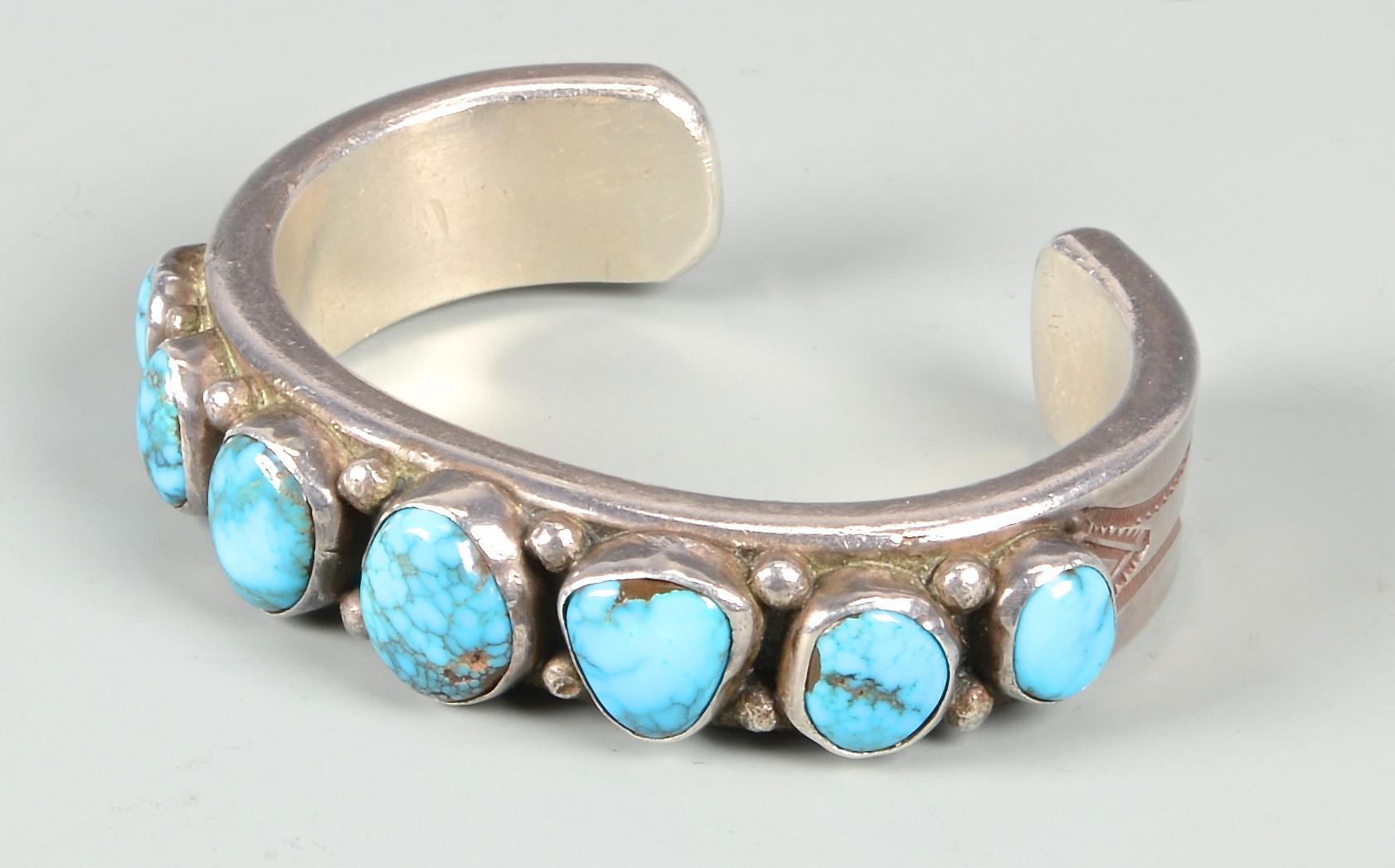 Lot 636: Mark Chee Silver Bracelet w/ Turquoise