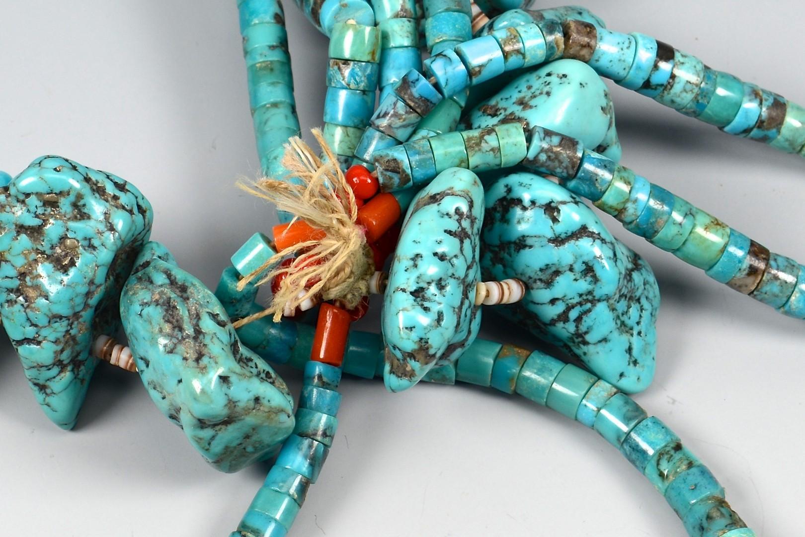 Lot 638: Pueblo Turquoise Jaclas Necklace