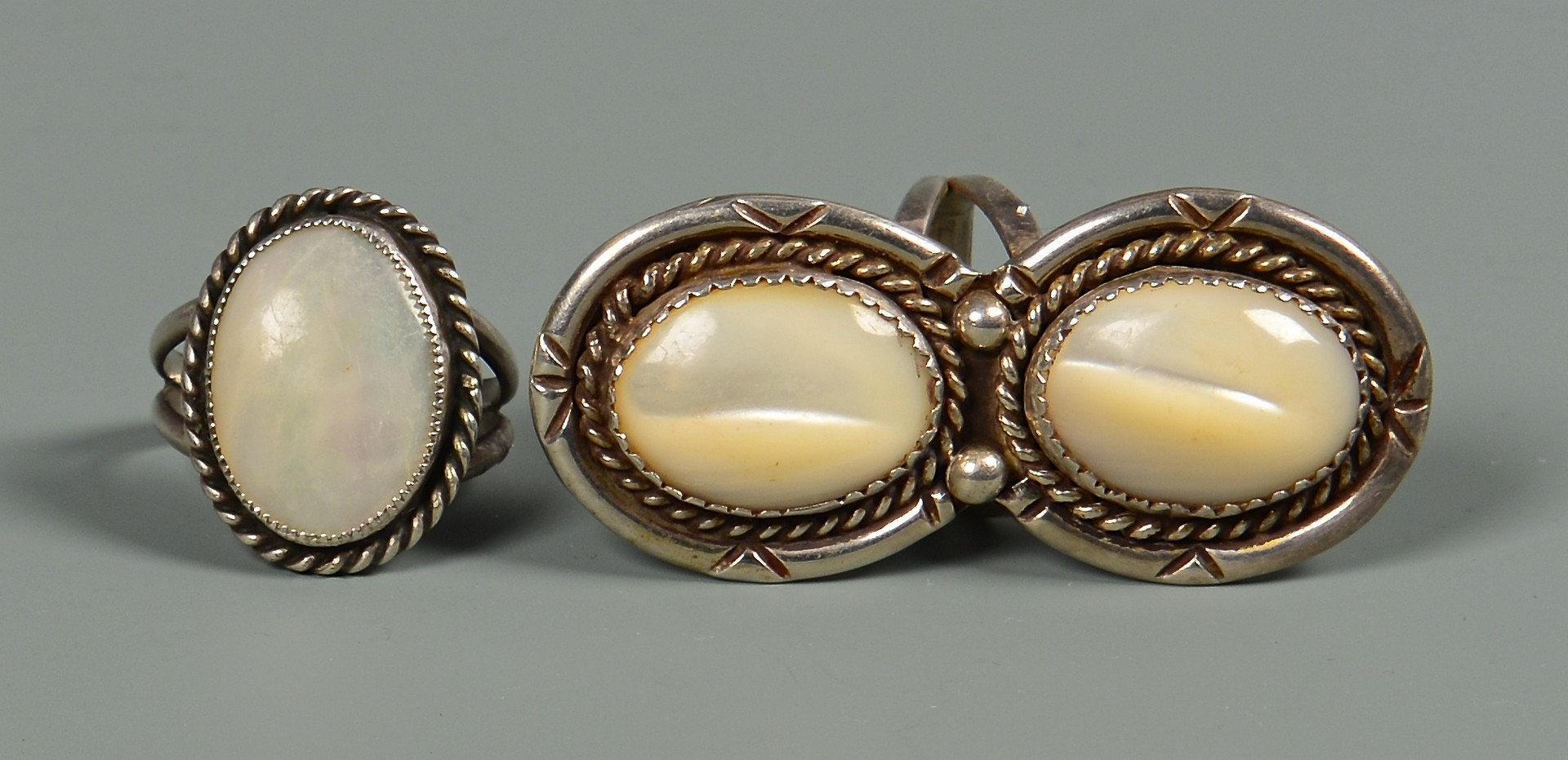 Lot 639: Group Of Navajo Mother of Pearl Jewelry, 8 items