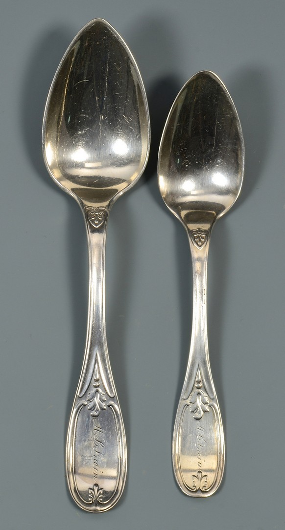 Lot 63: 34 Pcs. Olive Pattern Flatware, Kendrick, Wood & H