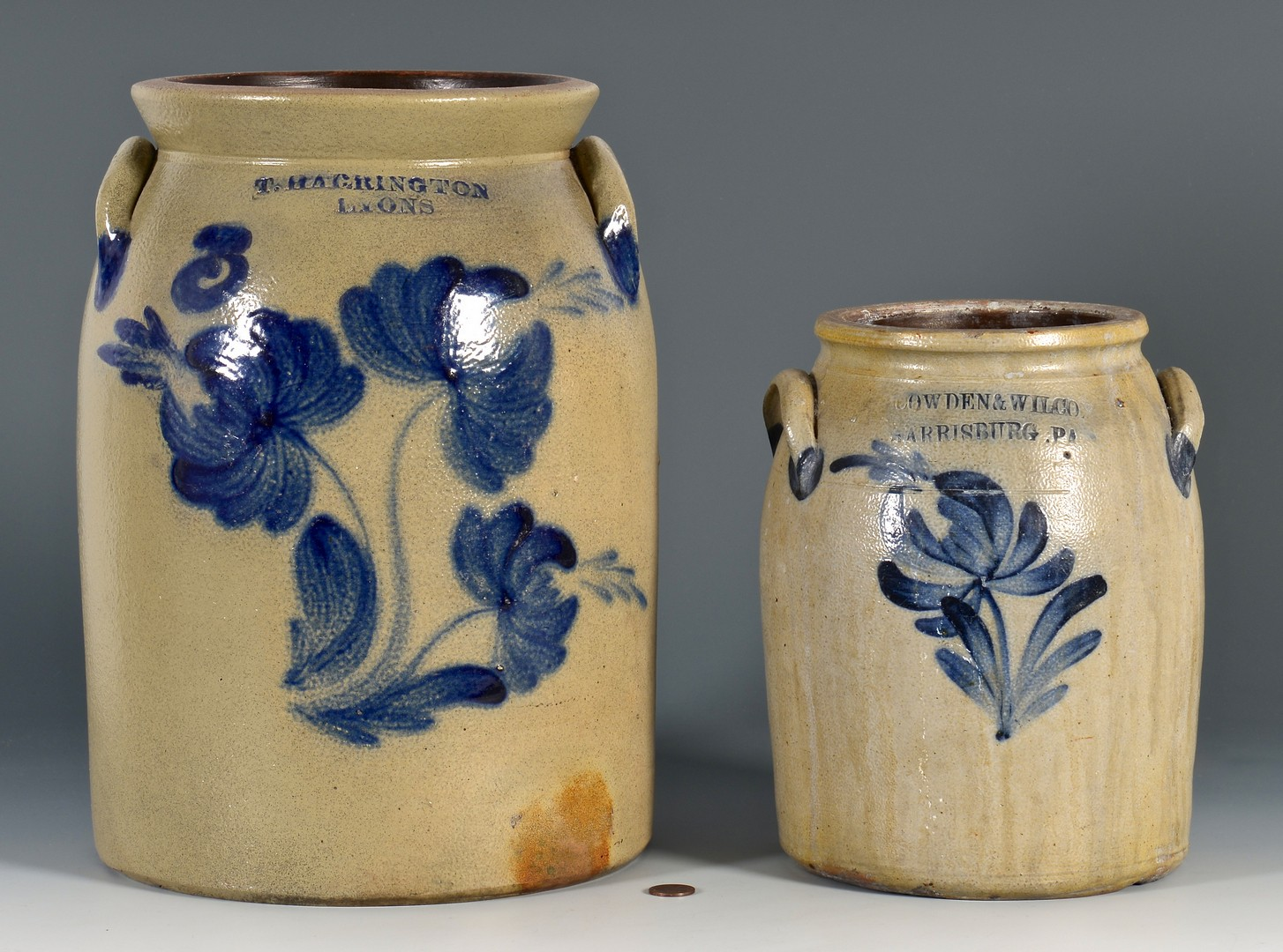 Lot 644: Cowden & Wilcox and Harrington Stoneware Jars