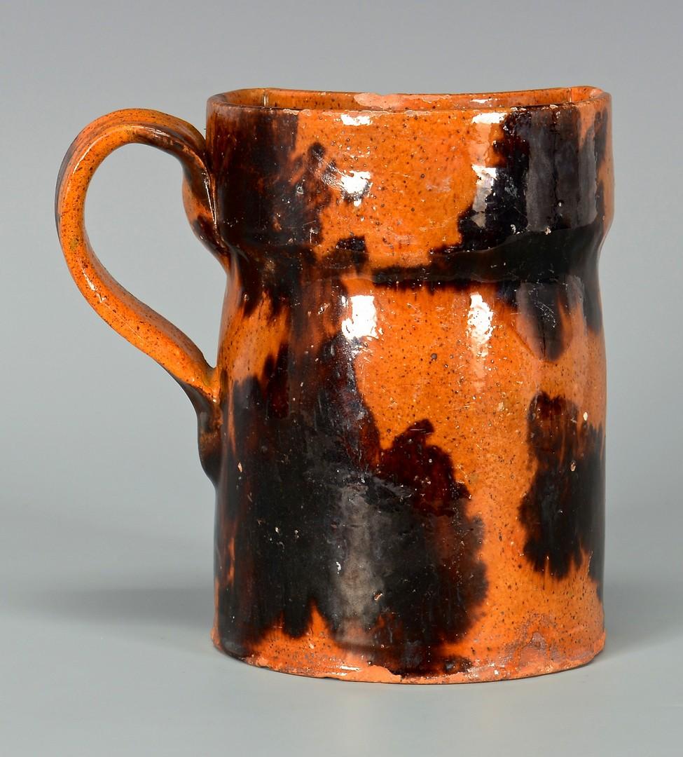 Lot 645: Redware Shaving Mug w/ Manganese Decoration