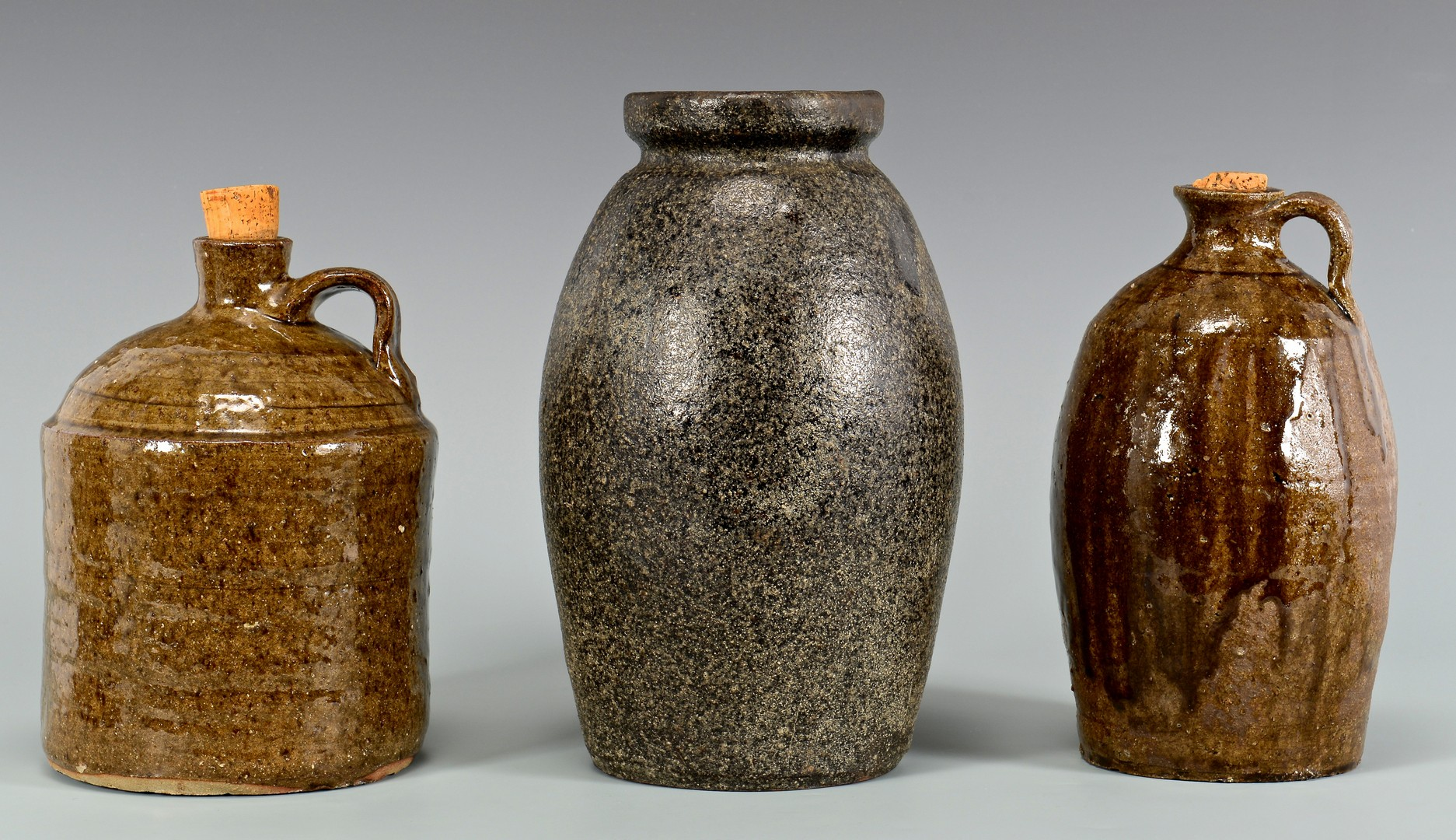 Lot 646: 3 Alkaline Stoneware Forms, attrib. NC