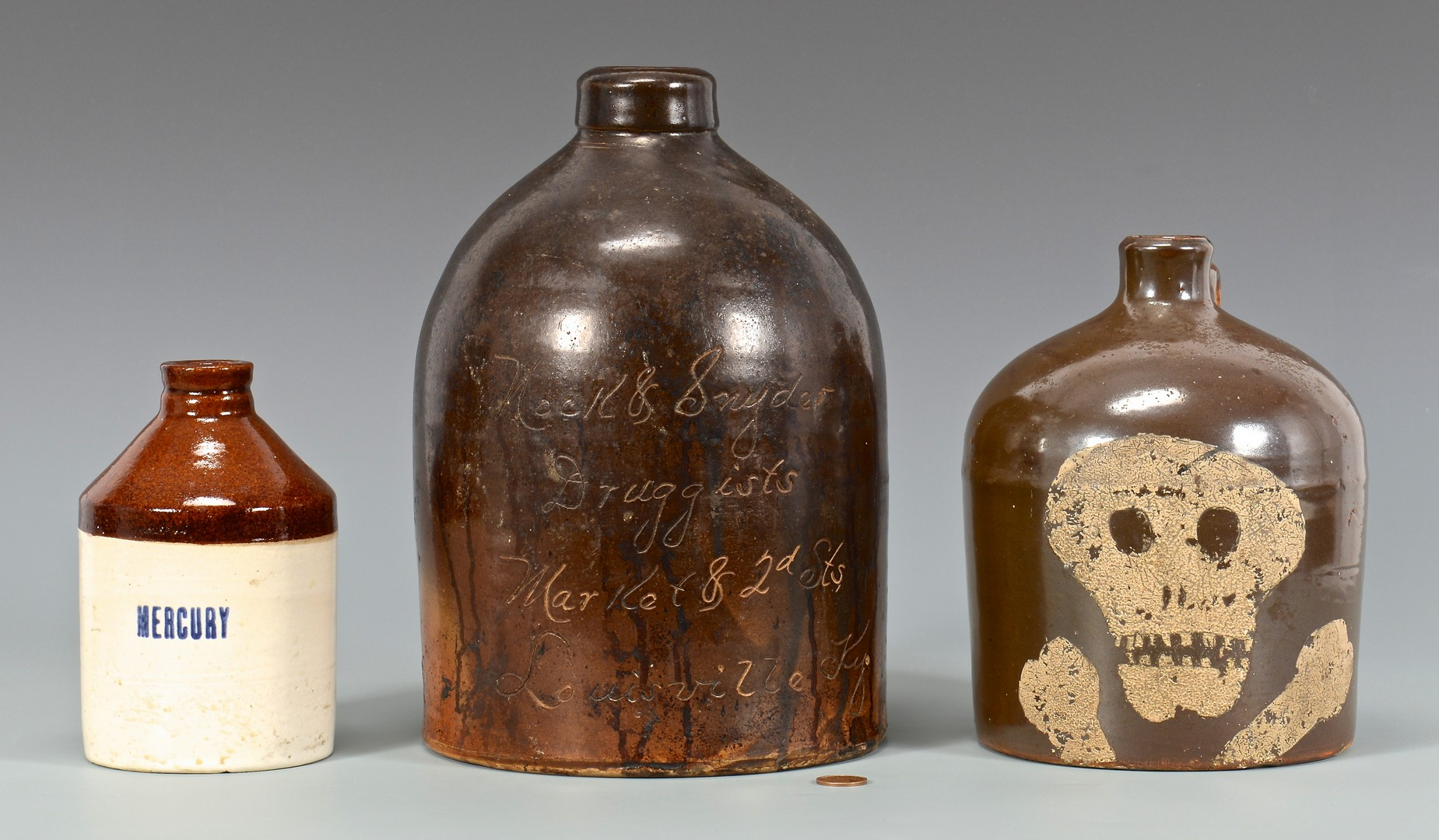 Lot 648: 3 Southern Druggist Apothecary Related Jugs