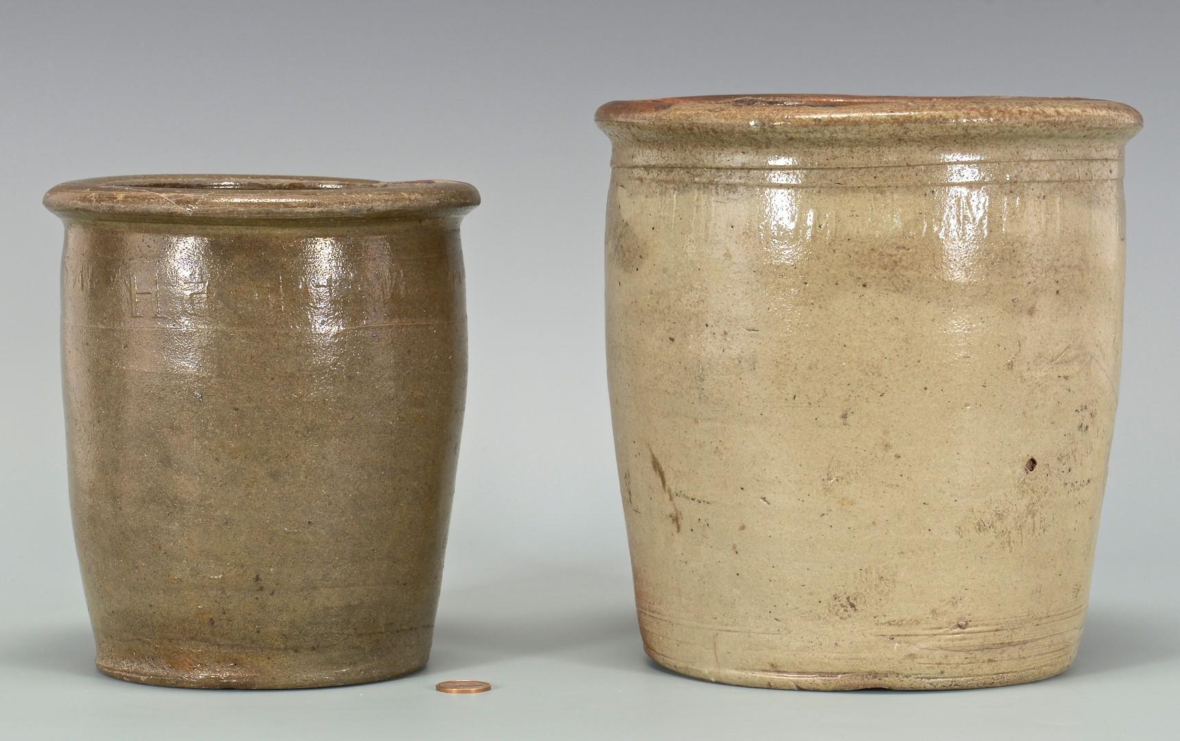 Lot 652: 2 East TN M.P. Harmon Stoneware Jars, 1 upside dow