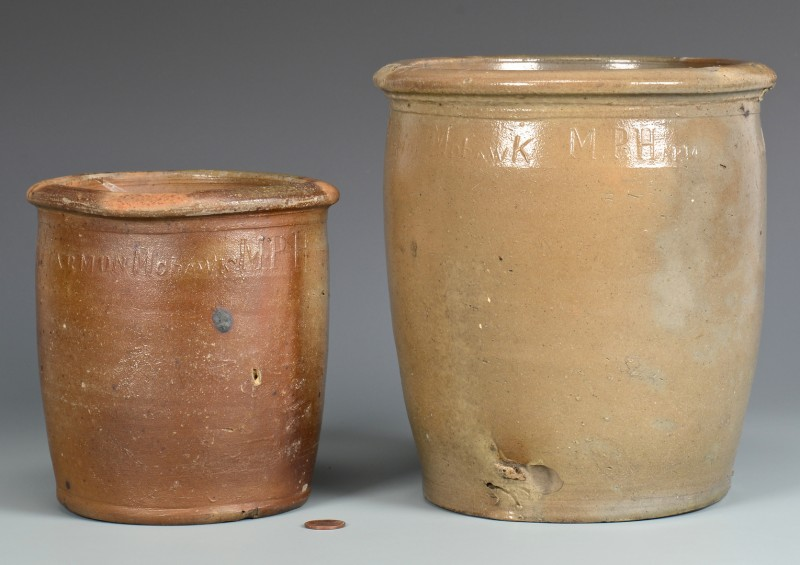 Lot 653: 2 East TN M.P. Harmon Stoneware Jars