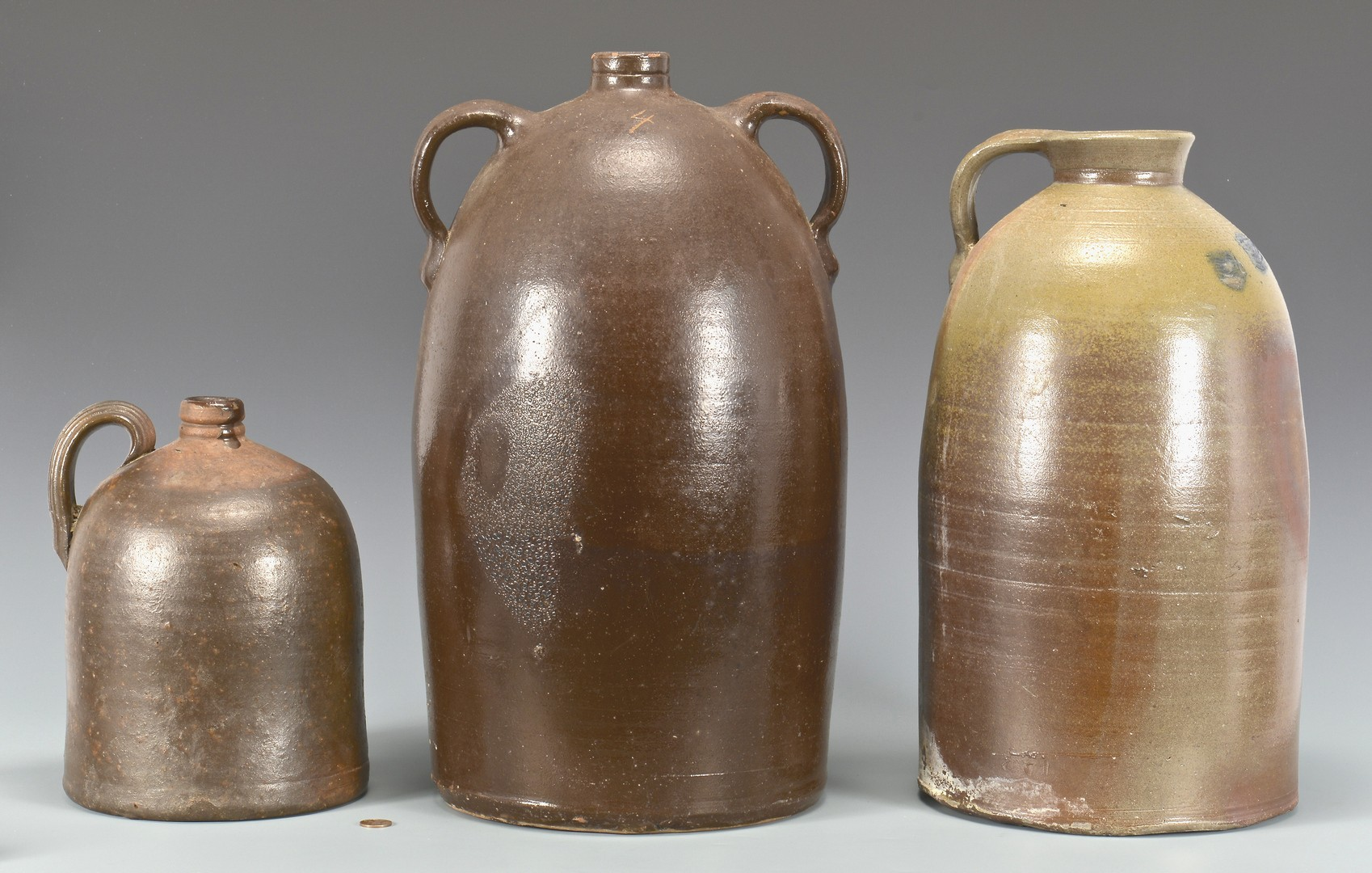 Lot 654: Grouping of 3 East TN pottery jugs