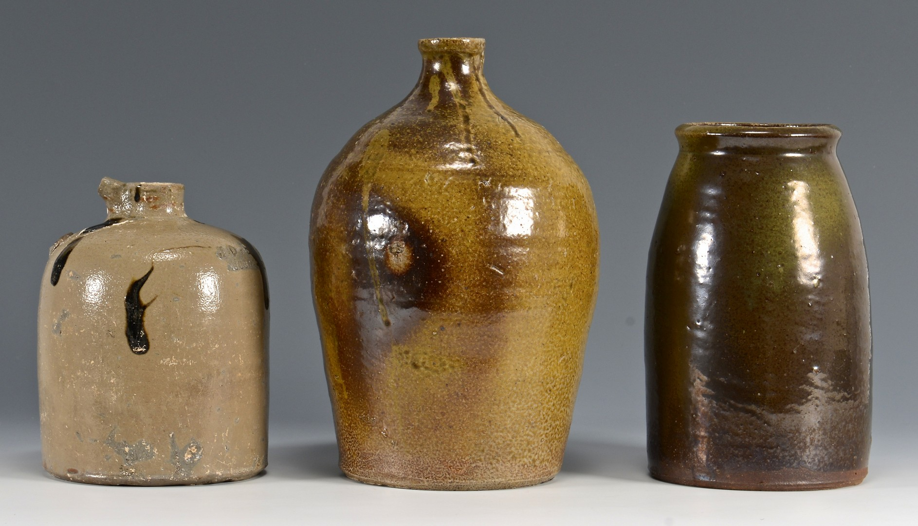 Lot 657: 3 Southern Pottery Forms, Salt Glaze