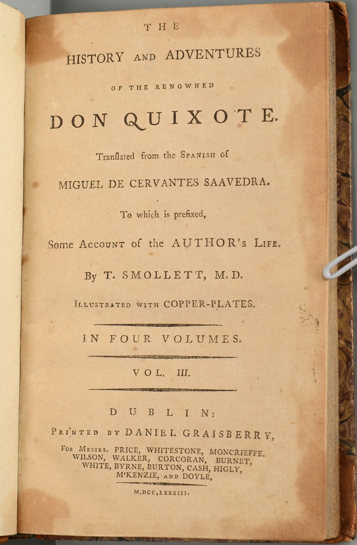Lot 662: 4 Vol Set Don Quixote, Dublin, 1783