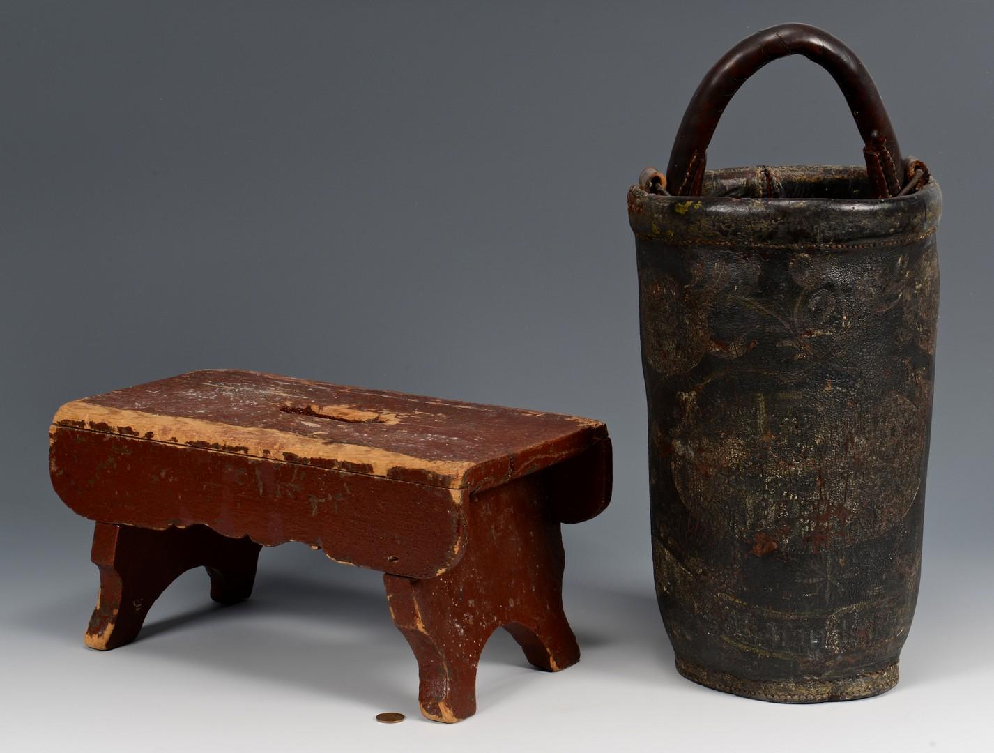 Lot 669: Shaker Boxes, Fireman Bucket, Stool