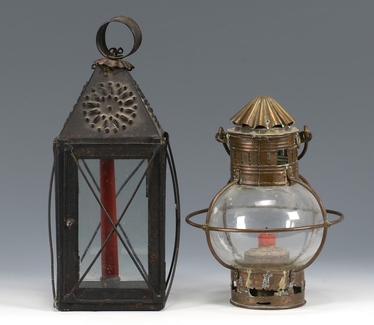 Lot 673: Primitive lighting, charger, hooks, 7 items