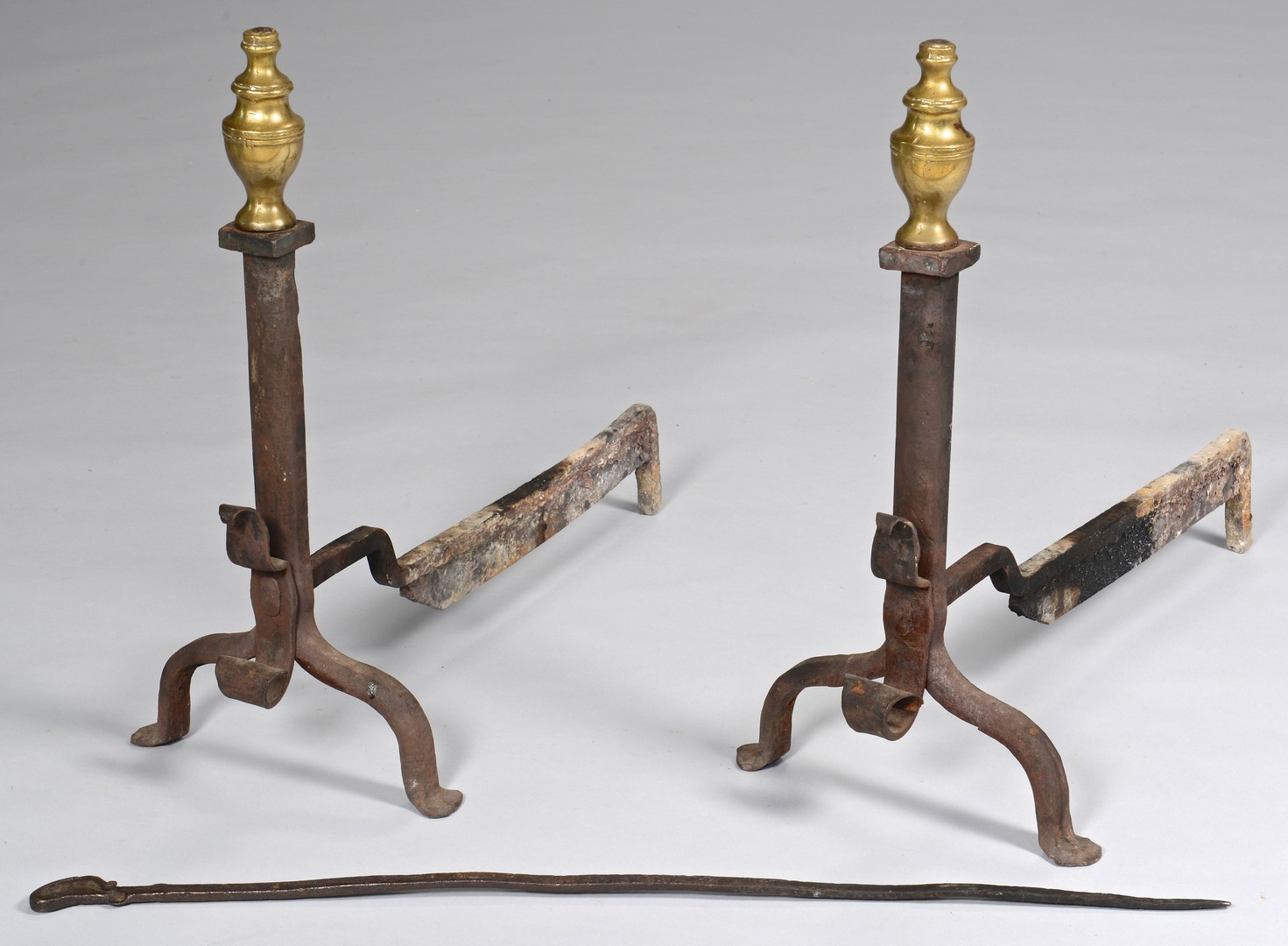 Lot 676: Federal Andirons and fireplace Poker